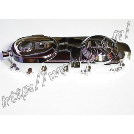 Cache carter gauche chrome 50 moteur long (courroie 729mm)