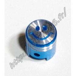 Bouchon de valve smiley alu anodise bleu